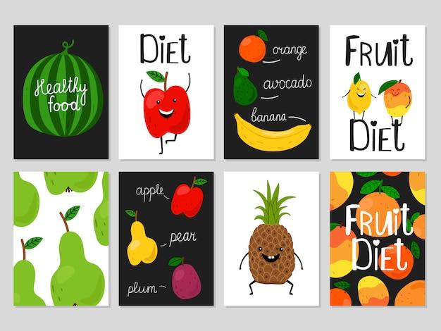 Tarjetas de frutas de dibujos animados