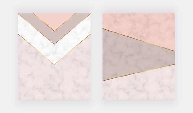 Tarjetas geométricas desnudas con líneas doradas y formas triangulares.