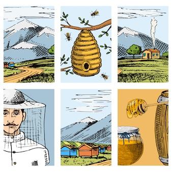 Tarjetas de granja de colmenar dibujado a mano vintage miel haciendo agricultor apicultor ilustración naturaleza producto por abeja