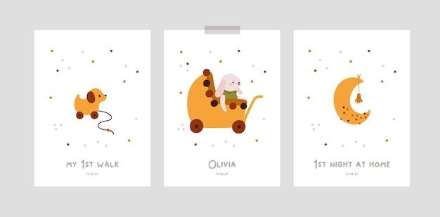 Tarjetas de hitos de bebé con luna y juguetes para niña o niño recién nacido baby shower print