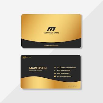 Tarjetas de identidad empresarial de lujo negras y doradas