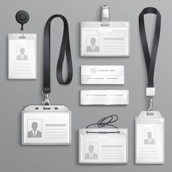 Tarjetas de identificación insignias conjunto de muestras