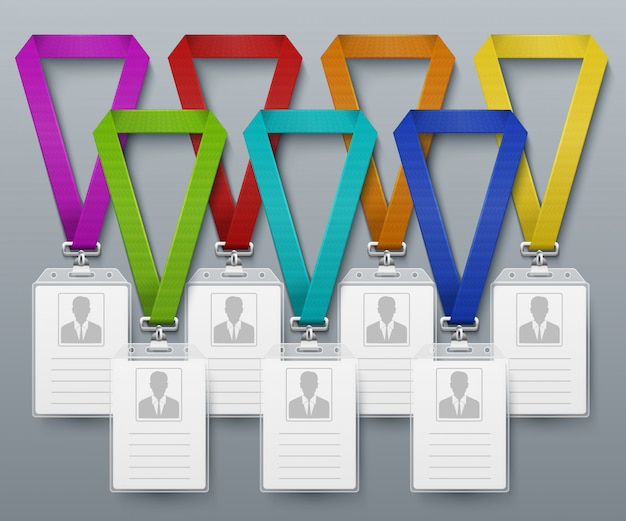 Tarjetas de identificación de oficina insignias color lanyards vector plantilla