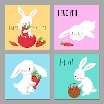 Tarjetas imprimibles con conejitos de personaje de dibujos animados con zanahorias