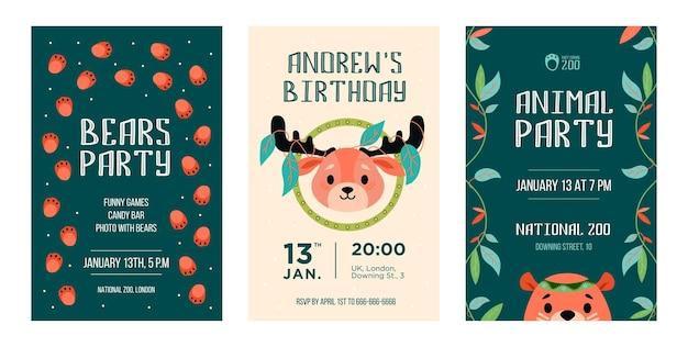Tarjetas de invitación con animales salvajes. reno de dibujos animados amigable, oso con decoración en estilo boho