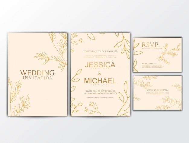 Tarjetas de invitación de boda con adornos de flores
