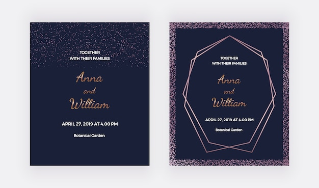 Tarjetas de invitación de boda azul oscuro con bordes de confeti de oro rosa y marco de líneas poligonales.