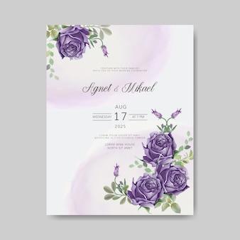 Tarjetas de invitación de boda con bella flor