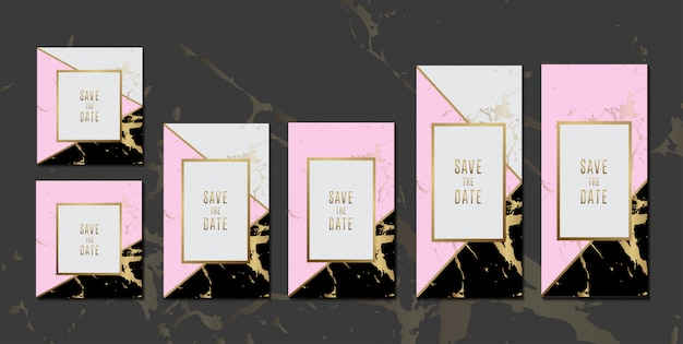 Tarjetas de invitación de boda colección de textura de mármol rosa negro con marco dorado para diseño de mensajes de texto