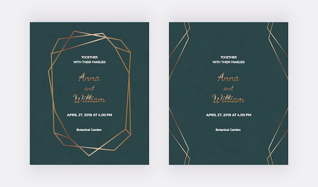 Tarjetas de invitación de boda esmeralda con marco poligonal dorado y líneas geométricas.