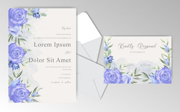 Tarjetas de invitación de boda floral acuarela con rosas y hojas de color azul marino