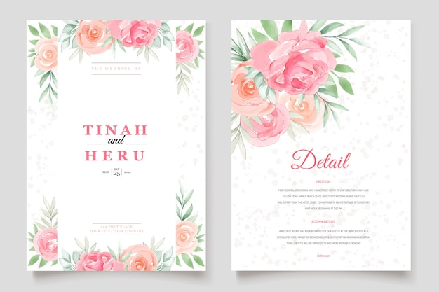 Tarjetas de invitación de boda floral acuarela