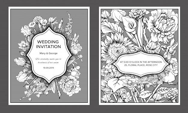 Tarjetas de invitación de boda florales vintage