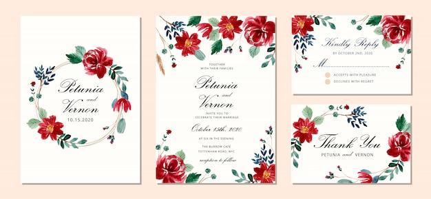 Tarjetas de invitación de boda con flores.