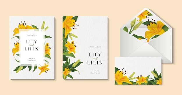 Tarjetas de invitación de boda con hermosa plantilla de flores de lirio amarillo.