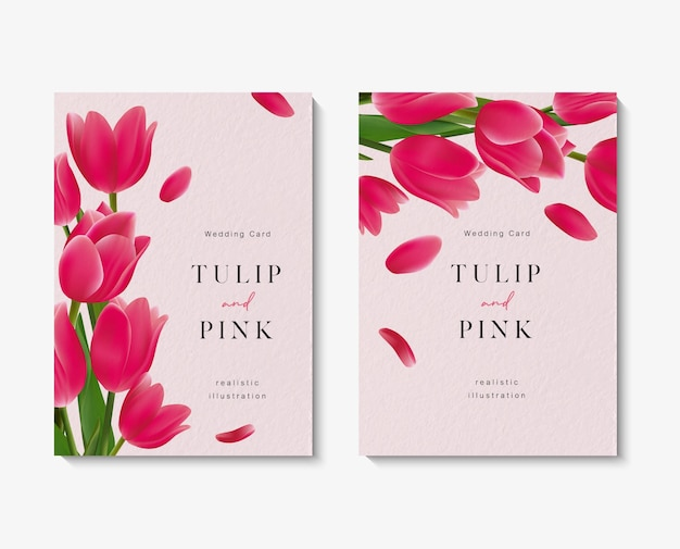 Tarjetas de invitación de boda con hermosa plantilla de flores de tulipán rosa.