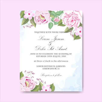 Tarjetas de invitación de boda hermosas flores dibujadas a mano