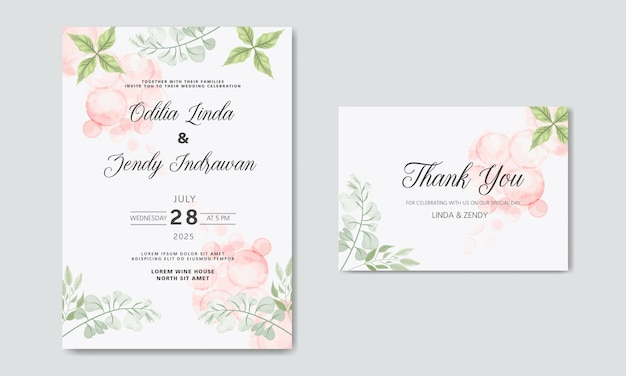 Tarjetas de invitación de boda con hermosas flores