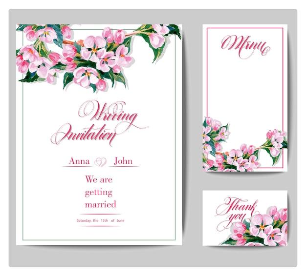 Tarjetas de invitación de boda con una ilustración de vector de rama de árbol de manzana floreciente acuarela