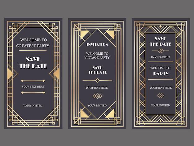 Tarjetas de invitación de boda de lujo con estilo art deco o gatsby, adornos dorados