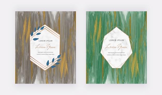 Tarjetas de invitación de boda negras y verdes con brillo dorado y marco geométrico