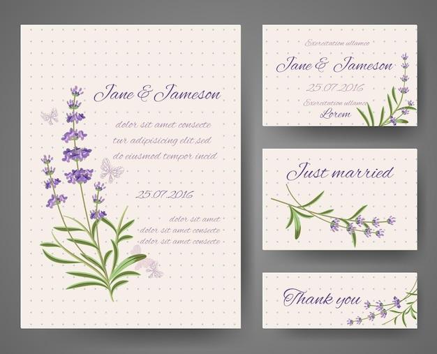 Tarjetas de invitación de boda con racimos de lavanda