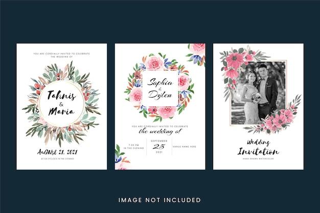 Tarjetas de invitación de boda vintage con flores y hojas