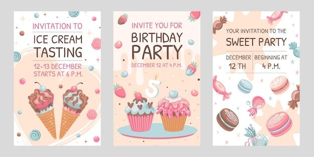 Tarjetas de invitación con dulces. ilustraciones de ice cream, macarons, birthday cupcakes