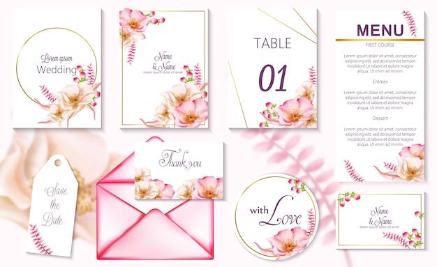 Tarjetas de invitación de evento de primavera acuarela con flores rosas en flor