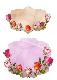 Tarjetas de invitación con flores detalladas. archivo incluido