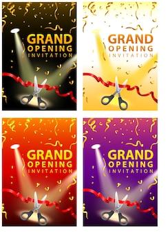 Tarjetas de invitación de inauguración en cuatro conjuntos de colores