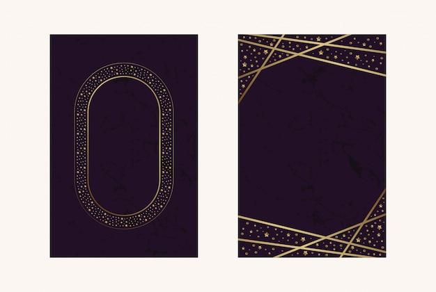 Tarjetas de invitación magenta lujo hoja confitti oro