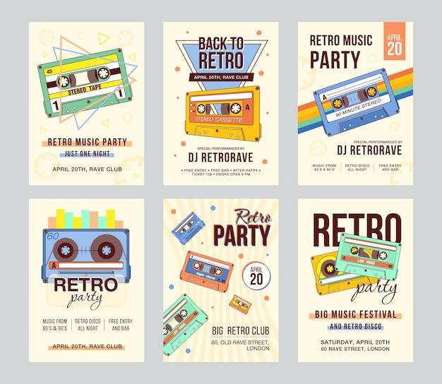 Tarjetas de invitación promocionales con casetes de audio antiguos.