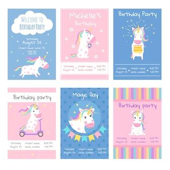 Tarjetas de invitaciones. diseñe tarjetas de plantilla con imágenes de lindos unicornios.