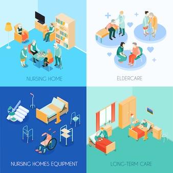 Tarjetas isométricas de concepto de cuidado de enfermería