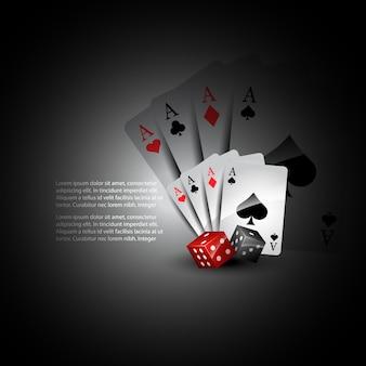 Tarjetas de juego y dados 3d
