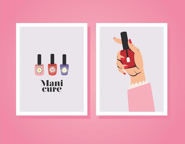Tarjetas de letras de manicura y frasco de esmalte rojo con tapa negra y una mano