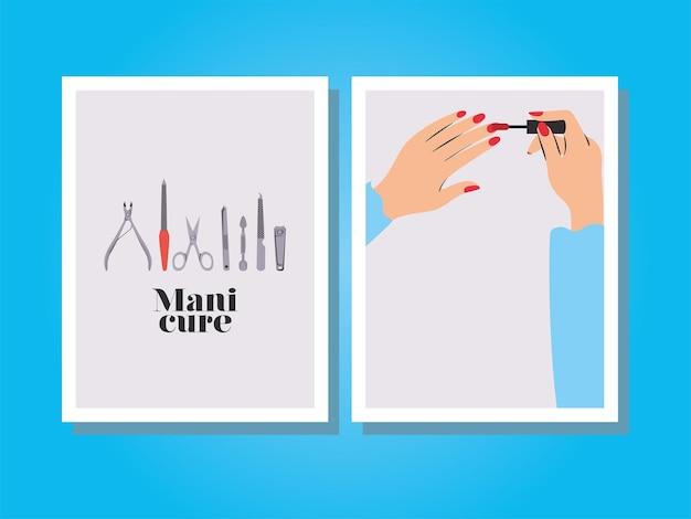 Tarjetas de letras de manicura, manos pintando sus uñas con un esmalte rojo y juego de manicura
