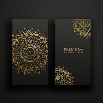 Tarjetas de mandala de lujo negras y doradas