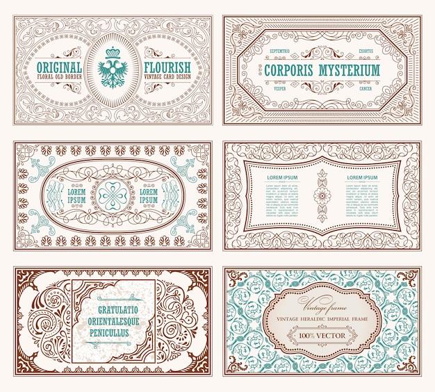 Tarjetas y marcos caligráficos vintage