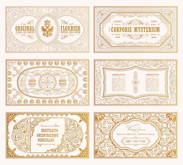 Tarjetas y marcos dorados vintage
