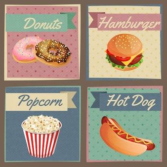 Tarjetas de menú de comida rápida