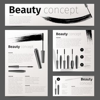 Tarjetas de moda de cosméticos, pancarta y folleto con objetos cosméticos realistas. papelería
