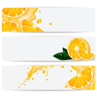 Tarjetas con naranja realista y un chorrito de jugo