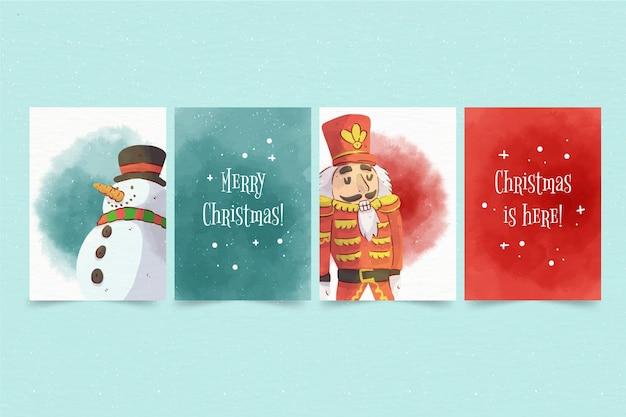 Tarjetas de navidad en acuarela