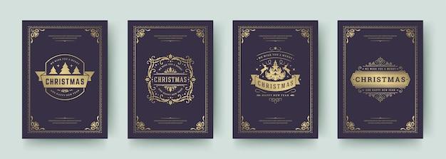 Tarjetas de navidad establecer ilustración de qoutes tipográficos vintage. símbolos de decoraciones ornamentadas con deseos de vacaciones de invierno y marcos de adornos florecientes.