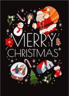 Tarjetas de navidad con sencillas ilustraciones lindas de santa claus y decoración navideña.