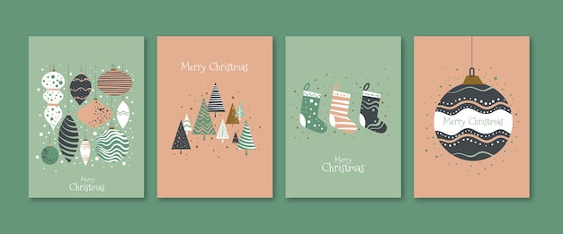 Tarjetas navideñas dibujadas a mano