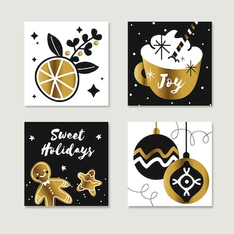 Tarjetas navideñas doradas dibujadas a mano