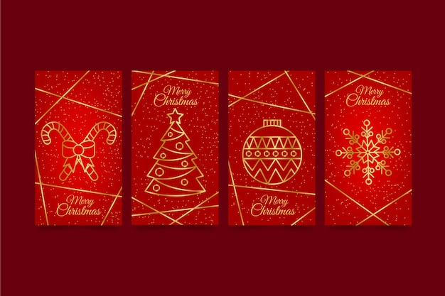 Tarjetas navideñas rojas y doradas